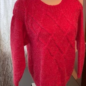 Bright cozy sweater , hand knit